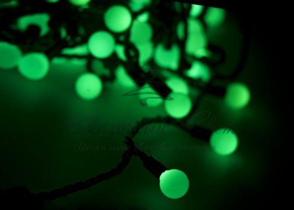 """Гирлянда """"Мультишарики"""" Ø17,5мм, 20 м, черный ПВХ, 200 диодов, цвет зеленый 2"""