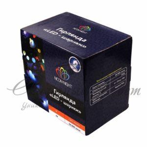 Гирлянда «Мультишарики» Ø45 мм, 10 м, черный ПВХ, 40 диодов, цвет RGB