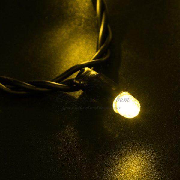 Гирлянда Нить 10м, постоянное свечение, черный ПВХ, 24В, цвет: Жёлтый 2