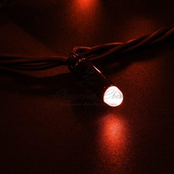 Гирлянда Нить 10м, постоянное свечение, черный ПВХ, 230В, цвет: Красный 2