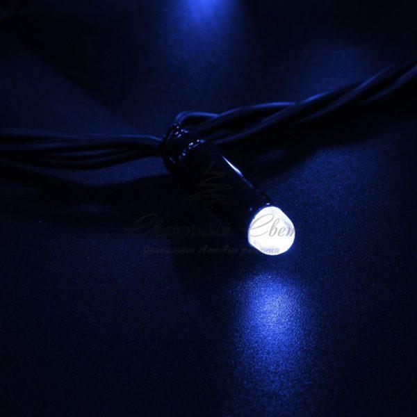 Гирлянда Нить 10м, постоянное свечение, черный ПВХ, 230В, цвет: Синий 2