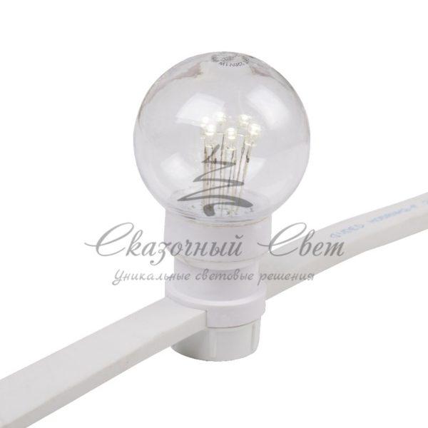 Гирлянда LED Galaxy Bulb String 10м, белый КАУЧУК, 30 ламп*6 LED БЕЛЫЕ Партия NN на ПВХ, 25 ламп, влагостойкая IP65 3