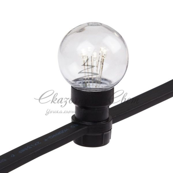 Гирлянда LED Galaxy Bulb String 10м, черный КАУЧУК, 30 ламп*6 LED БЕЛЫЕ, влагостойкая IP65 3