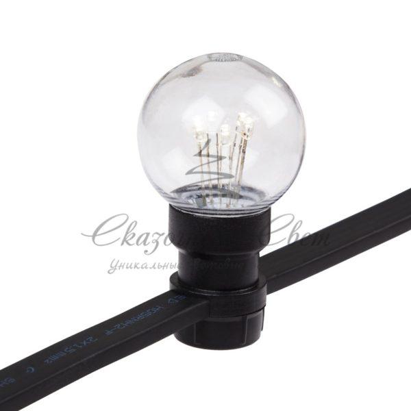 Гирлянда LED Galaxy Bulb String 10м, черный КАУЧУК, 30 ламп*6 LED ТЕПЛО-БЕЛЫЕ, влагостойкая IP65 3