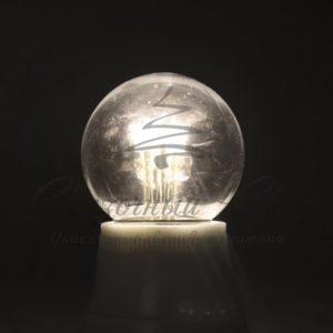 Лампа шар e27 6 LED  Ø45мм — белая, прозрачная колба, эффект лампы накаливания