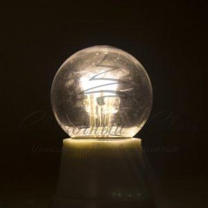Лампа шар e27 6 LED  Ø45мм – тепло-белая, прозрачная колба, эффект лампы накаливания