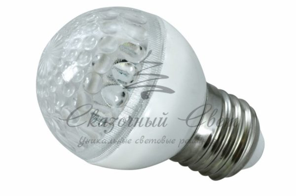 Лампа шар e27 10 LED  Ø50мм  тепло-белая 24В 1