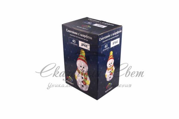 """Акриловая светодиодная фигура """"Снеговик с шарфом"""" 30 см, 40 светодиодов, IP 44, понижающий трансформатор в комплекте, NEON-NIGHT 2"""