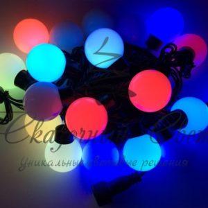 Светодиодная гирлянда Rich LED Шарики RGB Большие, 4 см, 5 м, соединяемая, черный провод