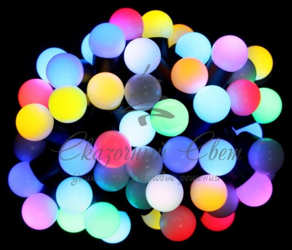 Светодиодная гирлянда Rich LED Шарики RGB 23 мм, 7.5 м, соединяемая, черный провод