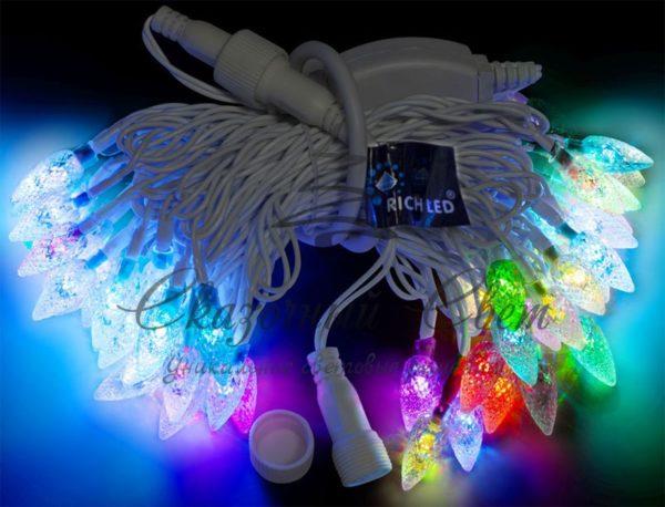 Светодиодная гирлянда Rich LED Шишки RGB, 7.5 м, соединяемая, белый провод