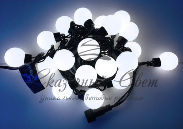 Светодиодная гирлянда Большие Шарики Rich LED, 4 см, 5 м, соединяемая, белая, черный провод