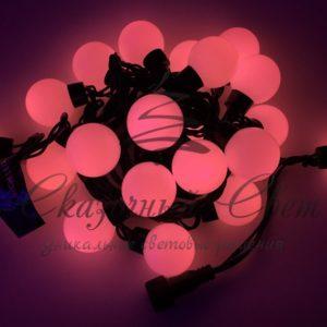 Светодиодная гирлянда Большие Шарики Rich LED, 4 см, 5 м, соединяемая, красная, черный провод