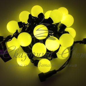 Светодиодная гирлянда Большие Шарики Rich LED, 4 см, 5 м, соединяемая, желтая, черный провод