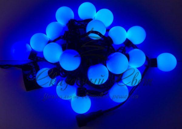 Светодиодная гирлянда Большие Шарики Rich LED, 4 см, 5 м, соединяемая, синяя, черный провод