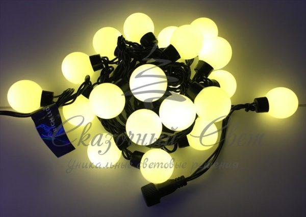 Светодиодная гирлянда Большие Шарики Rich LED, 4 см, 5 м, соединяемая, теплая-белая, черный провод