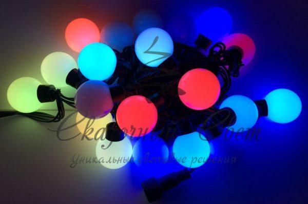 Светодиодная гирлянда Большие Шарики Rich LED, 4 см, 5 м, соединяемая, бело-сине-красная, черный провод