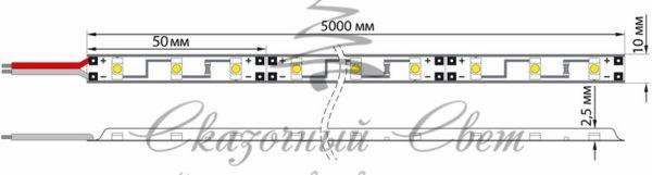 LED лента открытая, 8мм, IP23, SMD 2835, 60 LED/m, 12V, красная, катушка 5 м 1