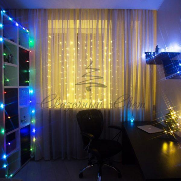 """Гирлянда """"Светодиодный Дождь""""  1,5х1,5м, свечение с динамикой, прозрачный провод, 230 В, диоды ТЕПЛО-БЕЛЫЕ 1"""