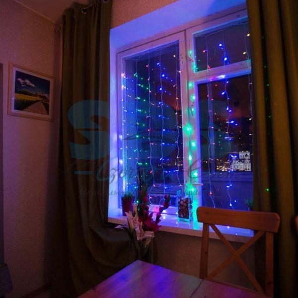 """Гирлянда """"Светодиодный Дождь""""  1,5х1,5м, свечение с динамикой, прозрачный провод, 230 В, диоды МУЛЬТИКОЛОР 1"""
