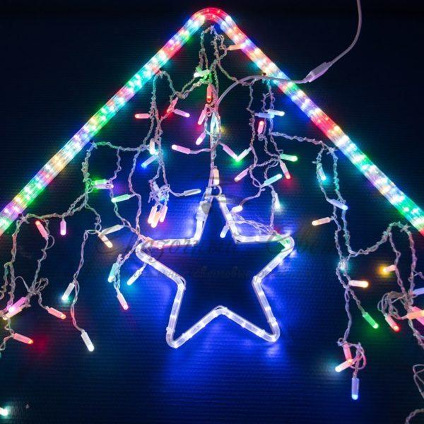 Гирлянда Айсикл (бахрома) светодиодный, 4,8 х 0,6 м, прозрачный провод, 230 В, диоды RGB, 176 LED NEON-NIGHT 4