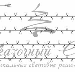 Гирлянда «Мультишарики» Ø17,5мм, 20 м,  черный ПВХ, 200 диодов, цвет белый, 24В