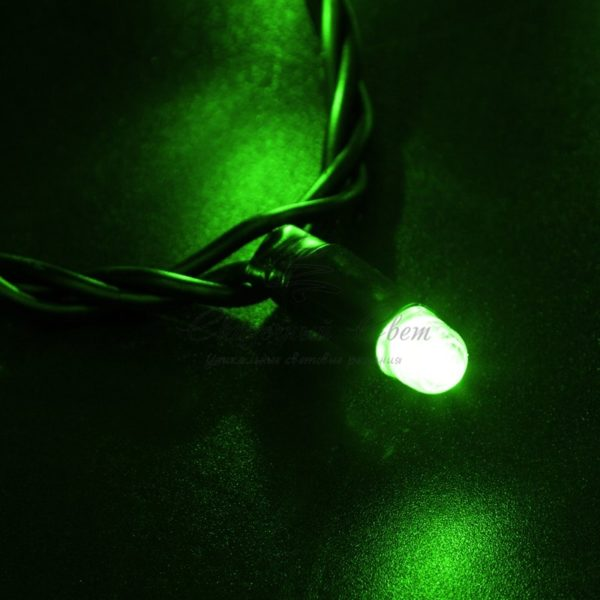 Гирлянда Нить 10м, с эффектом мерцания, черный ПВХ, 24В, цвет: Зелёный 2