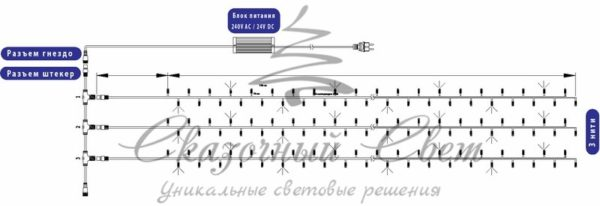 """Гирлянда """"LED ClipLight"""" 24V, 3 нити по 10 метров, цвет диодов Синий 1"""