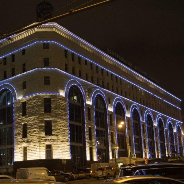 "Готовый набор: ""Евро Belt Light"" 2 жилы шаг 40 см, Белые LED лампы 45мм (6 LED) 2"