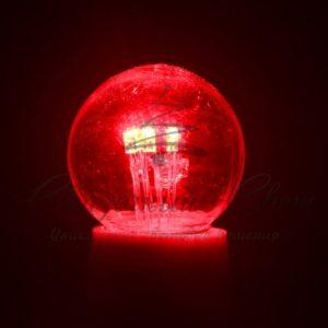 Лампа шар e27 6 LED  Ø45мм – красная, прозрачная колба, эффект лампы накаливания