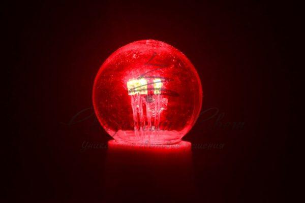 Лампа шар e27 6 LED  Ø45мм - красная, прозрачная колба, эффект лампы накаливания 1