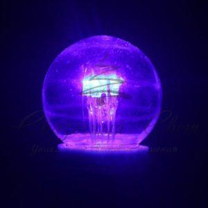 Лампа шар e27 6 LED  Ø45мм — синяя, прозрачная колба, эффект лампы накаливания