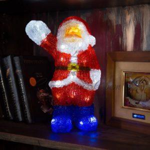 Акриловая светодиодная фигура «Санта Клаус приветствует» 30 см, 40 светодиодов, IP44 понижающий трансформатор в комплекте, NEON-NIGHT