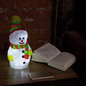 Акриловая светодиодная фигура «Снеговик с шарфом» 30 см, 40 светодиодов, IP 44, понижающий трансформатор в комплекте, NEON-NIGHT