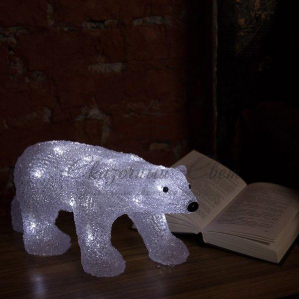 """Акриловая светодиодная фигура """"Медведь"""" 34,5х12х17 см, 4,5 В, 3 батарейки AA (не входят в комплект), 24 светодиода, NEON-NIGHT 1"""