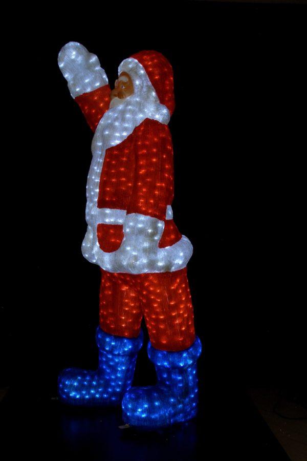 Снеговик 3D белый в синем полушубке, в синей шляпе с метлой, 200х125см 2