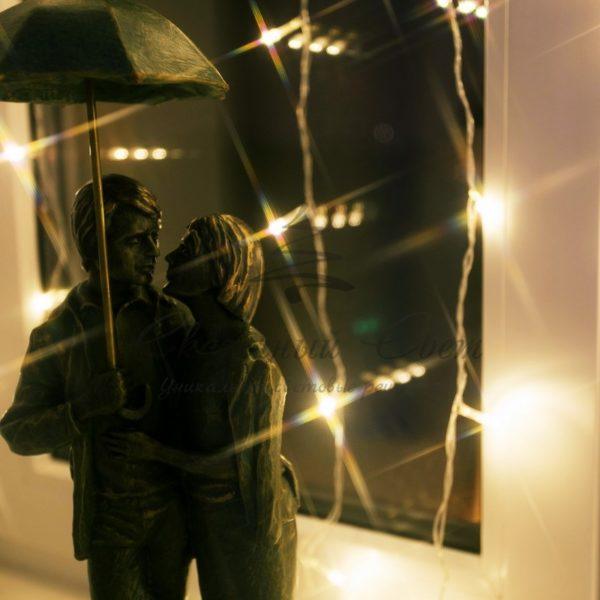 """Гирлянда """"Светодиодный Дождь""""  1,5х1м, свечение с динамикой, прозрачный провод, 230 В, диоды ТЕПЛО-БЕЛЫЕ 1"""
