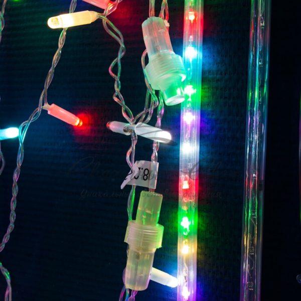 """Гирлянда """"Светодиодный Дождь"""" 2х1,5м, прозрачный провод, 230 В, диоды RGB, 300 LED свечение с динамикой при приобитении контроллера 245-907 3"""