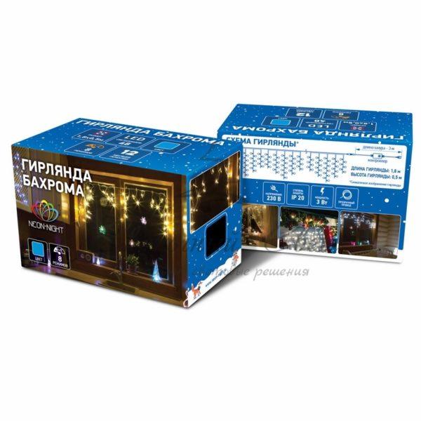 Гирлянда Айсикл (бахрома) светодиодный, 1,8 х 0,5 м, прозрачный провод, 230 В, диоды синие 1