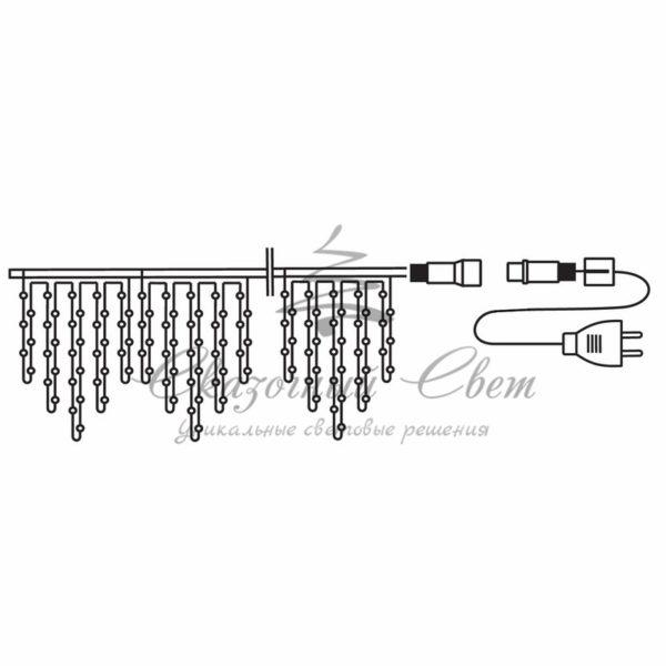 Гирлянда Айсикл (бахрома) светодиодный, 1,8 х 0,5 м, прозрачный провод, 230 В, диоды белые 1