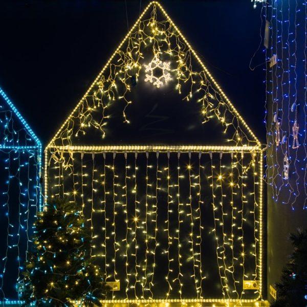 Гирлянда Айсикл светодиодный, 4,8 х 0,6 м, прозрачный провод, 230 В, цвет: Розовое золото,  176 LED 1