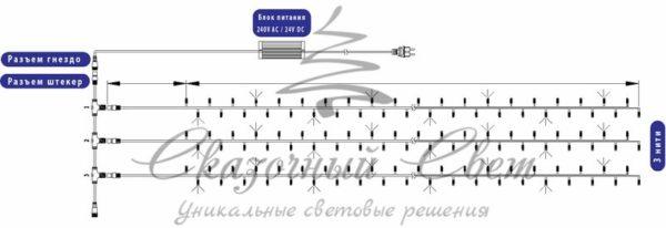 """Гирлянда """"LED ClipLight"""" 24V, 3 нити по 10 метров, цвет диодов Мульти 1"""