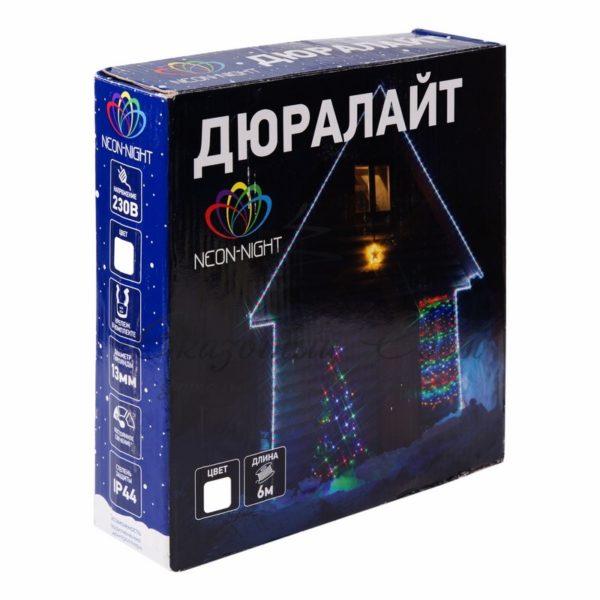 Дюралайт LED, свечение с динамикой (3W), 24 LED/м, белый, 6м 1