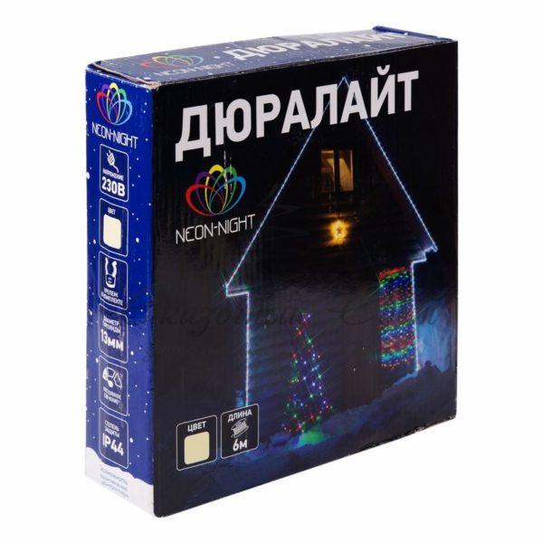Дюралайт LED, свечение с динамикой (3W), 24 LED/м, теплый белый, 6м 1