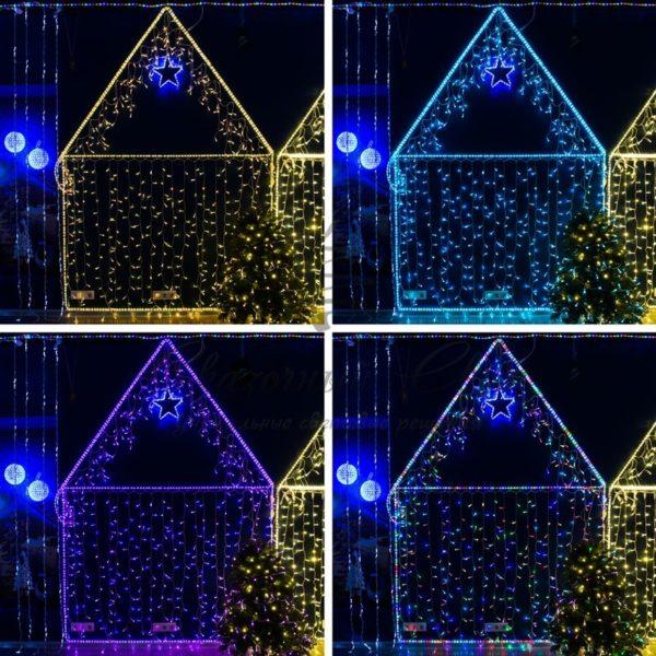 Гирлянда Айсикл (бахрома) светодиодный, 4,8 х 0,6 м, прозрачный провод, 230 В, диоды RGB, 176 LED NEON-NIGHT 2