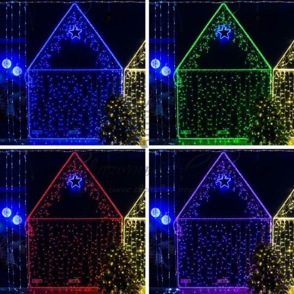 Гирлянда Айсикл (бахрома) светодиодный, 4,8 х 0,6 м, прозрачный провод, 230 В, диоды RGB, 176 LED NEON-NIGHT 1