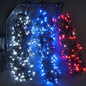 Светодиодная гирлянда Rich LED 3 Нити по 20 м c контроллером, ТРИКОЛОР, черный провод