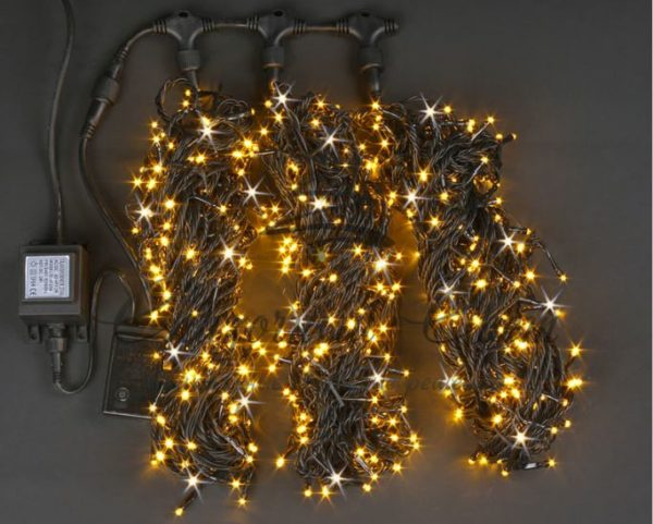 Светодиодная гирлянда Rich LED 3 Нити по 20 м мерцающая, Желтая, черный провод