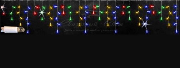 Светодиодная бахрома Rich LED 3х0.5 м мерцающая, IP65, герметичный колпачок, белый провод, Мульти