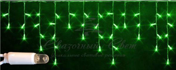 Светодиодная бахрома Rich LED 3х0.5 м мерцающая, IP65, герметичный колпачок, белый провод, Зеленая